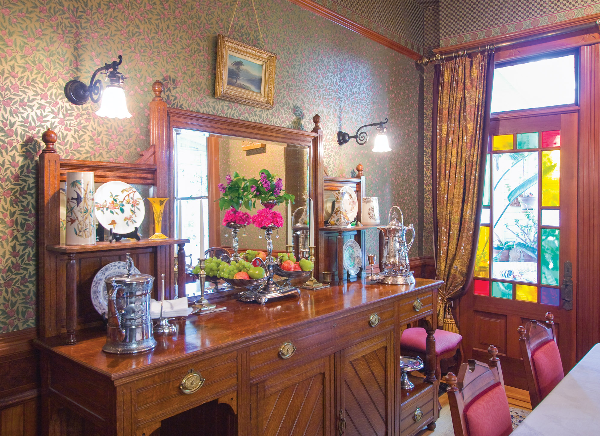 1892 Queen Anne dining room, Eastlake-style sideboard, Aesthetic wallpapers, Gothic chairs