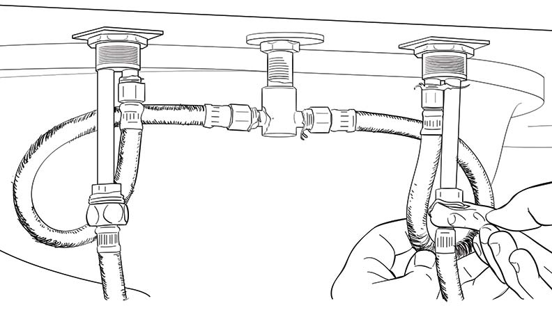 Connect water supply tubing