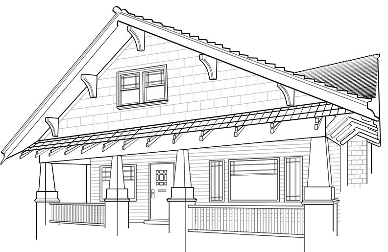 Bungalow with bracketed roof