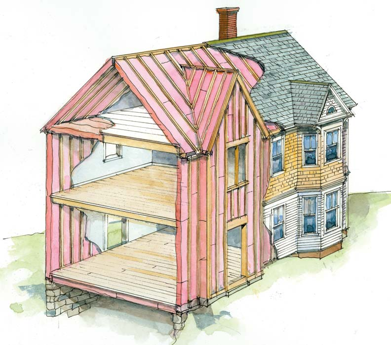 Common places where your house may be losing heat—such as the walls, roof, and attic floor—are good targets for insulation.