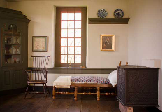 Interior of the Wentz homestead, which has been interpreted to Revolutionary times.