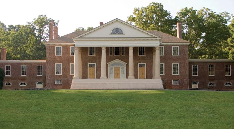 As part of the restoration, Montpelier was stripped of its duPont-era pink stucco and returned to its original Federal-era brick façade.