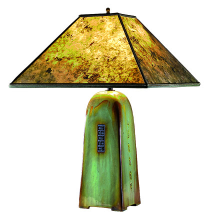 Celadon lamp with mica shade