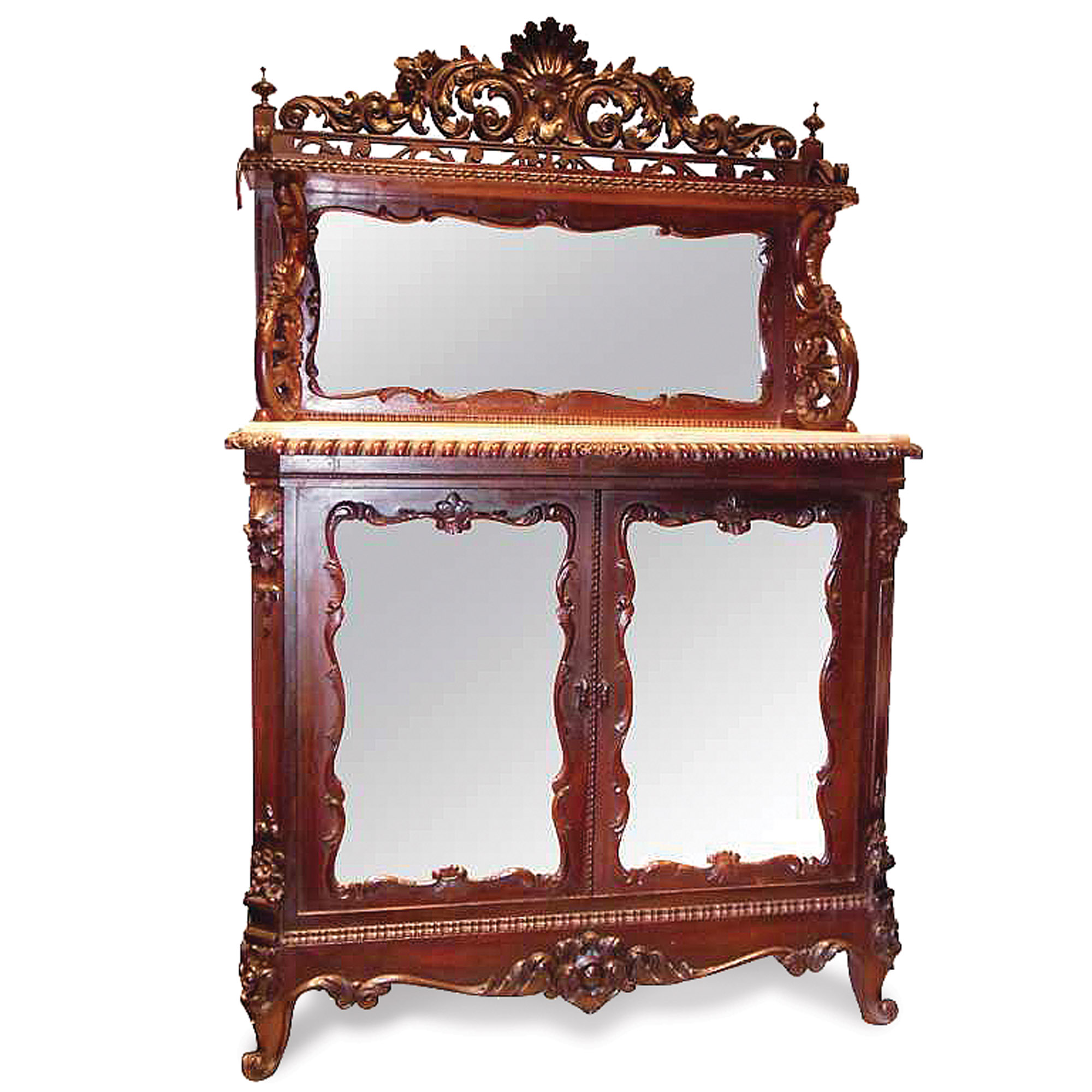 Marble-top rosewood cabinet