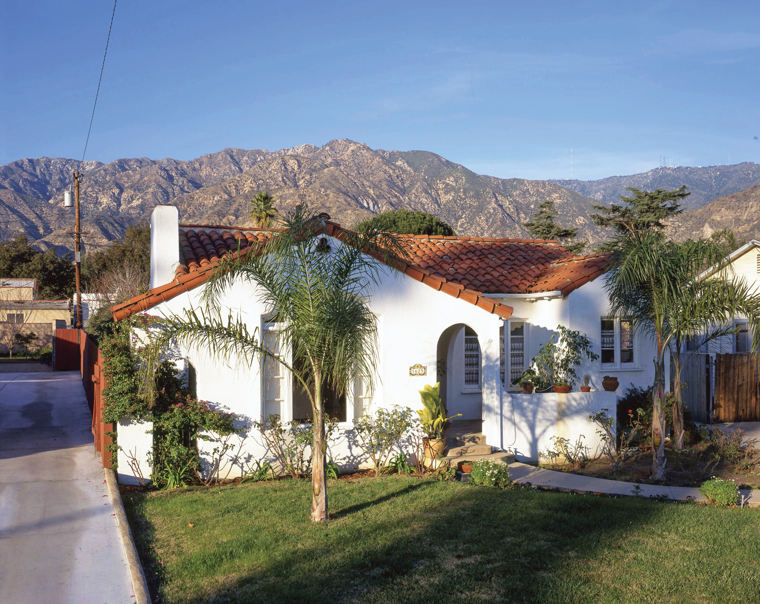 Spanish Colonial, white stucco house