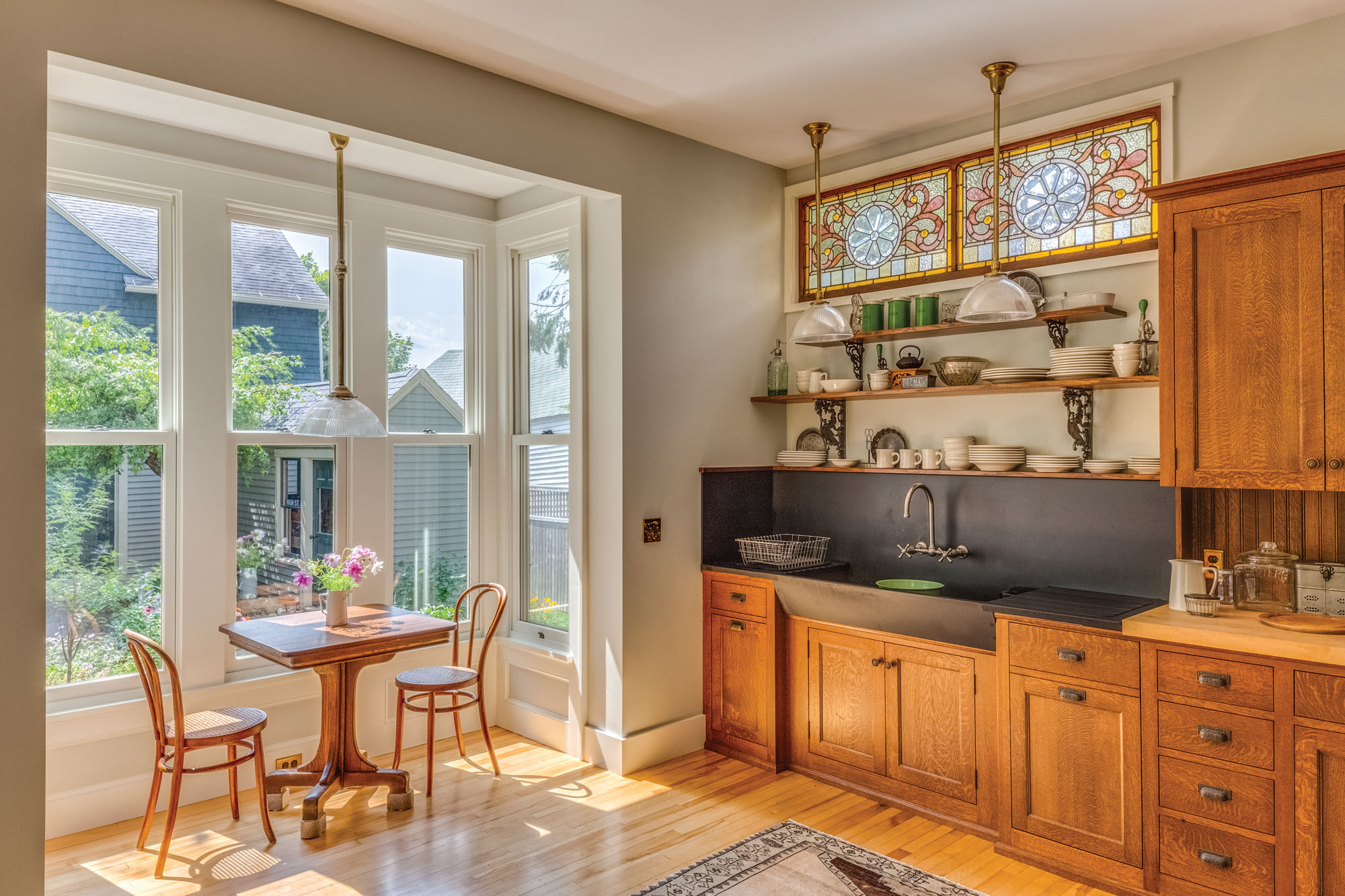 kitchen breakfast nook, stained glass windows