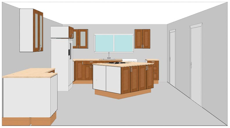Using the IKEA software's 3-D view allowed Karen and Matt to see their new kitchen before buying cabinets.