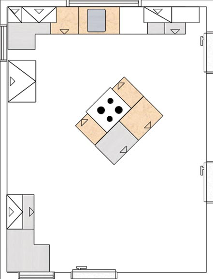 The IKEA software's two-dimensional layout mode was essential for mapping out traffic-flow patterns and work-triangle placement in Karen and Matt's kitchen.