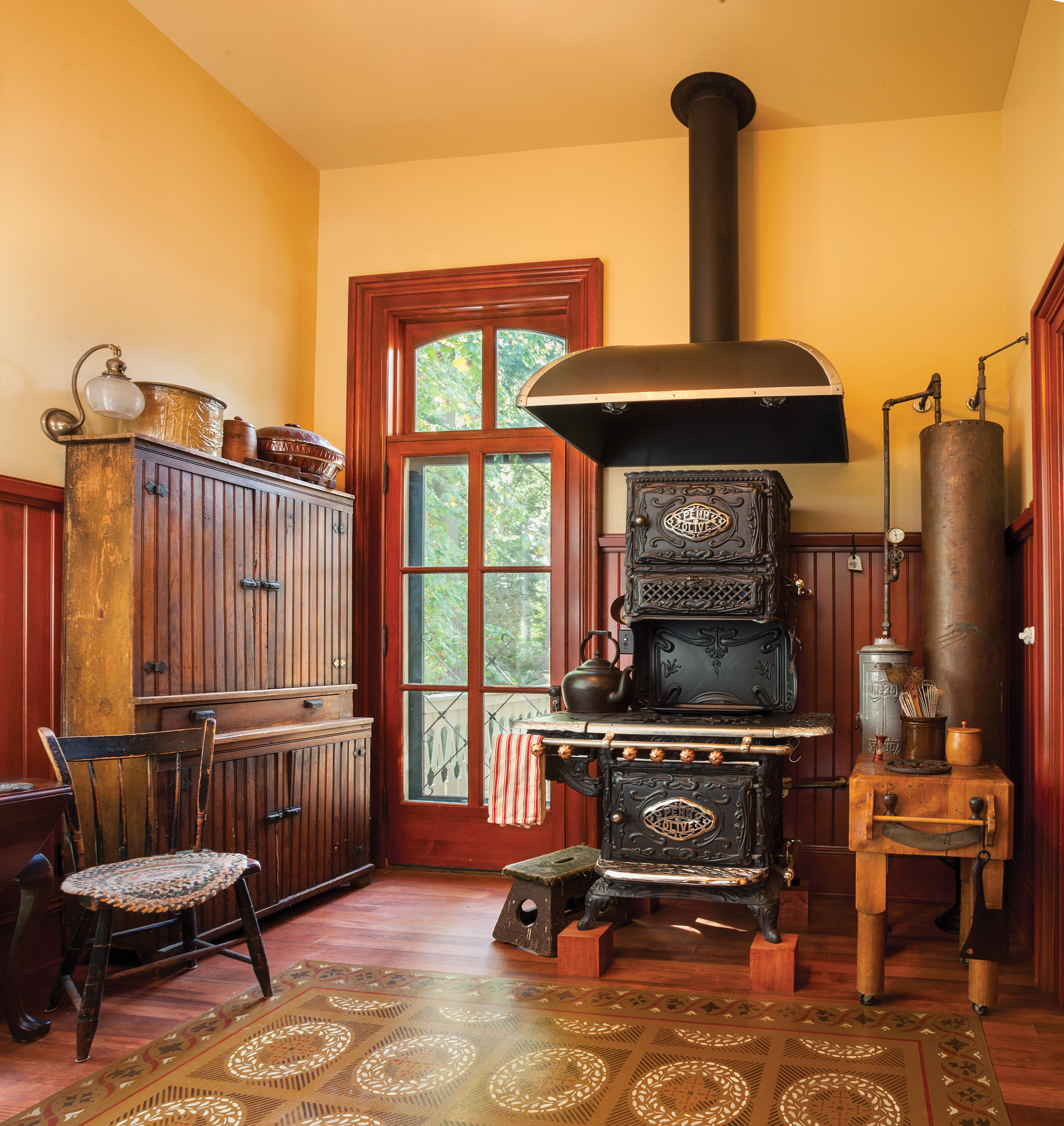 vintage kitchen, woodburning stove