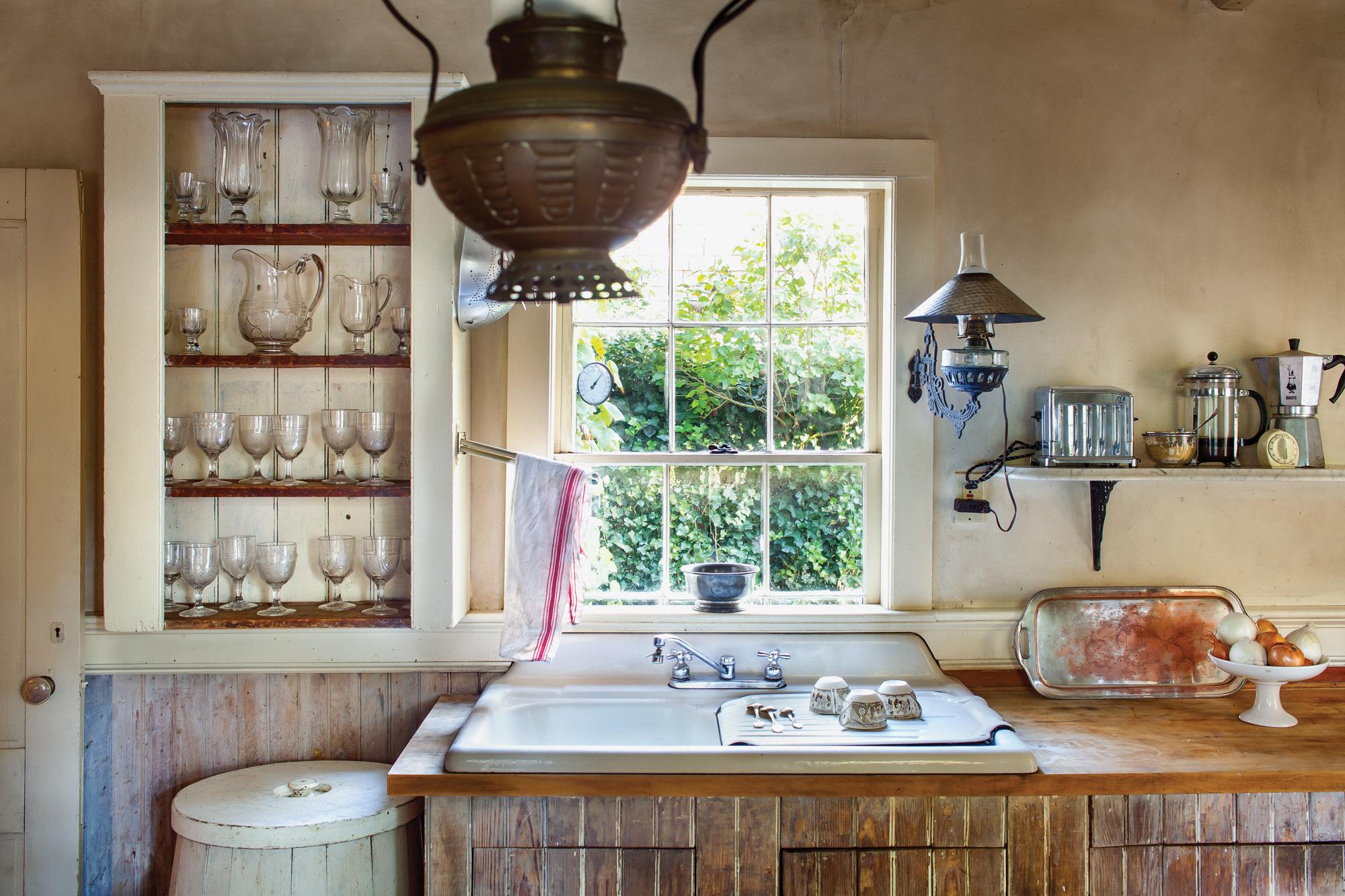 cottage kitchen, general store kerosene lamp