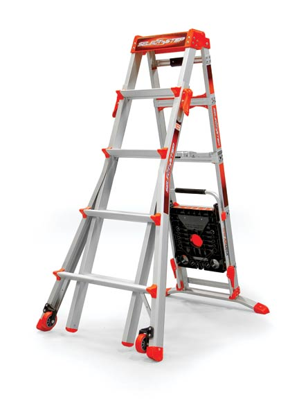 The legs on Little Giant's Select Step articulating ladder adjust independently to master uneven ground.