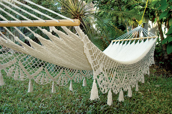 Lazy, sunny days beg for a hammock in the garden. With weaving that recalls the lace curtains found in many a Victorian parlor, Victorian Trading Co.'s hammock won't look out of place next to your Italianate or Queen Anne.