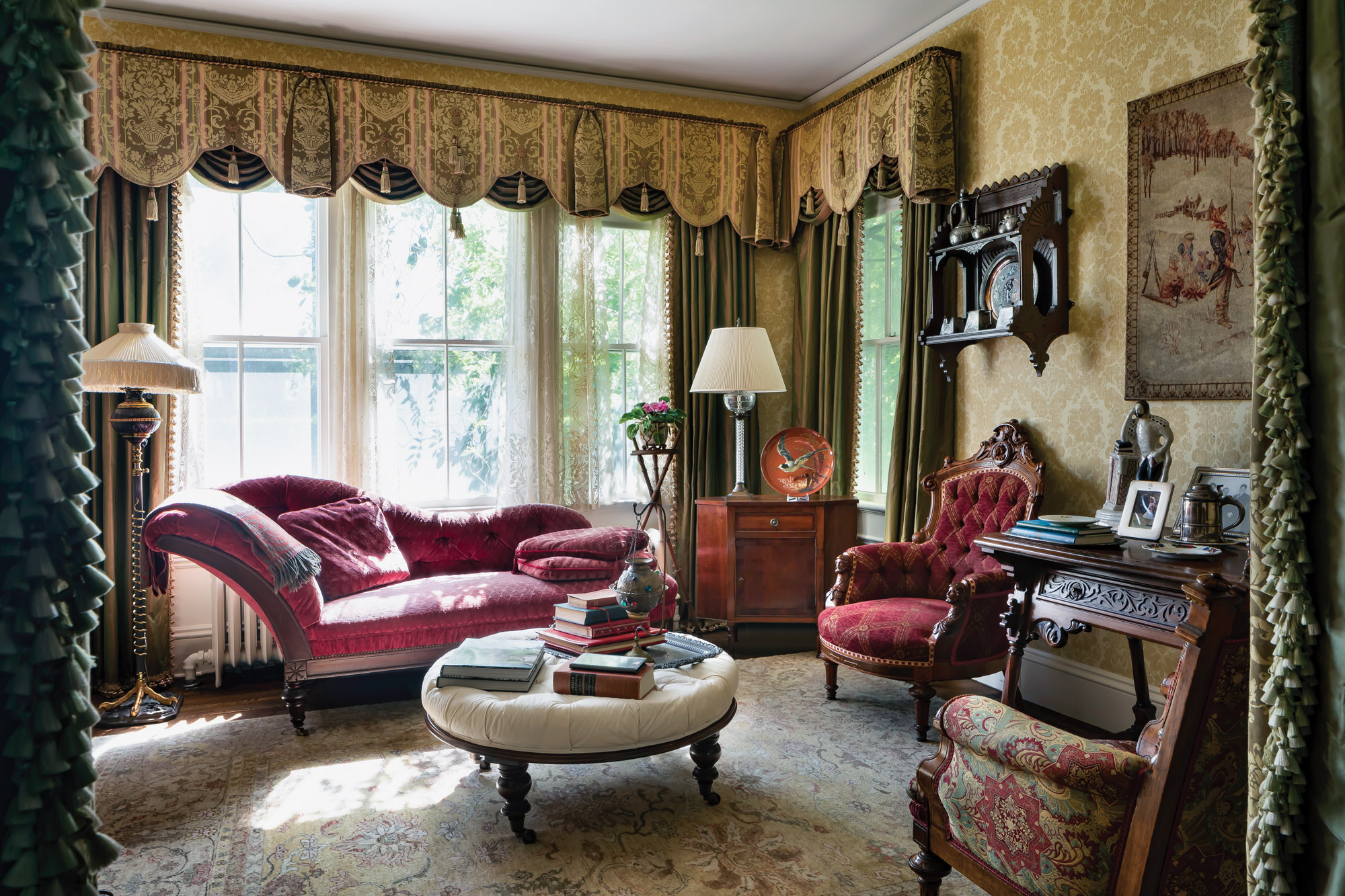 Each room in the house is decorated and furnished in a different style of the decadeslong Victorian period. The library has the eclecticism of the 1890s, blending historical styles from Rococo to the return of American Empire.