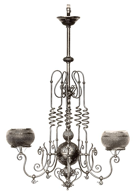 Bent Brass lighting, 1885-1890