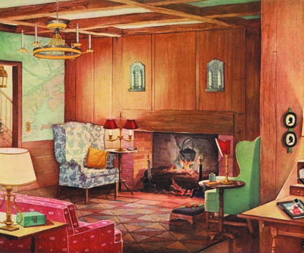 This Early American room from 1935 hits all the Romantic Revival lighting bases: hoop chandelier with scallop ornament, tin sconces, and shaded table lamps—all replete with electrified candles.