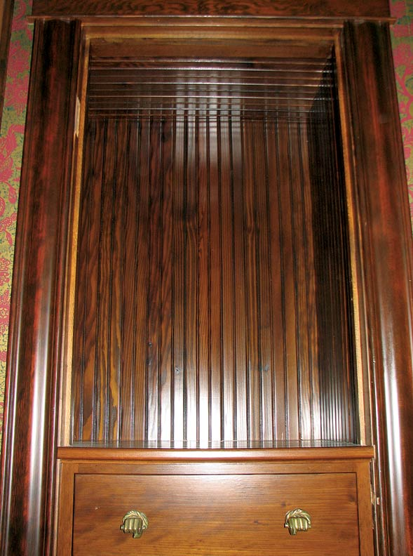 As a finishing touch, Jim lined the interior of the upper cabinet with fir beadboard, a nod to the breakfront that inspired it.