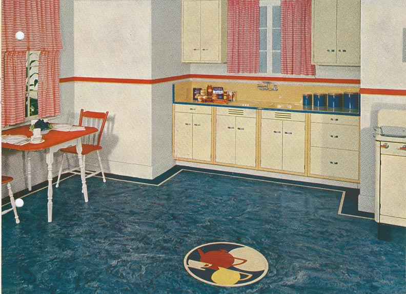 Blue linoleum floor tiles
