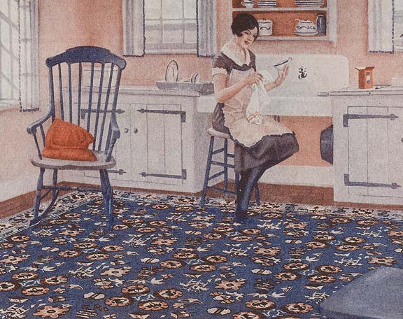 In 1927 Armstrong advertised its Genuine Cork Linoleum Rugs as a colorful flooring alternative for kitchens, be it this fanciful Japanese pattern or the standard grained look of jasper.