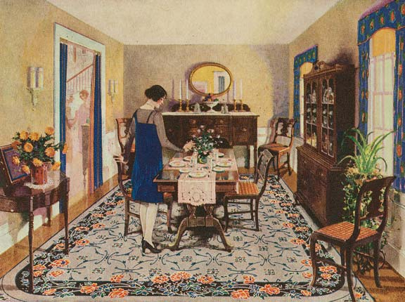 """With a deft promotional spin, Congoleum made a virtue of rug patterns that were only paint-deep, promising """"freedom from tiresome housework"""" because they could be """"cleaned in a wink with a few strokes of a damp mop."""""""