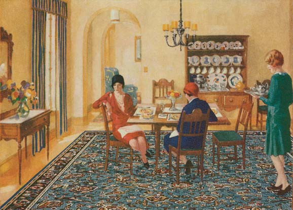 """While linoleum manufacturers cornered the market in kitchens and baths with plain-Jane patterns, by 1929 competitors were invading living and dining rooms with colorful """"rugs"""" that had never seen a loom and were not necessarily even linoleum."""