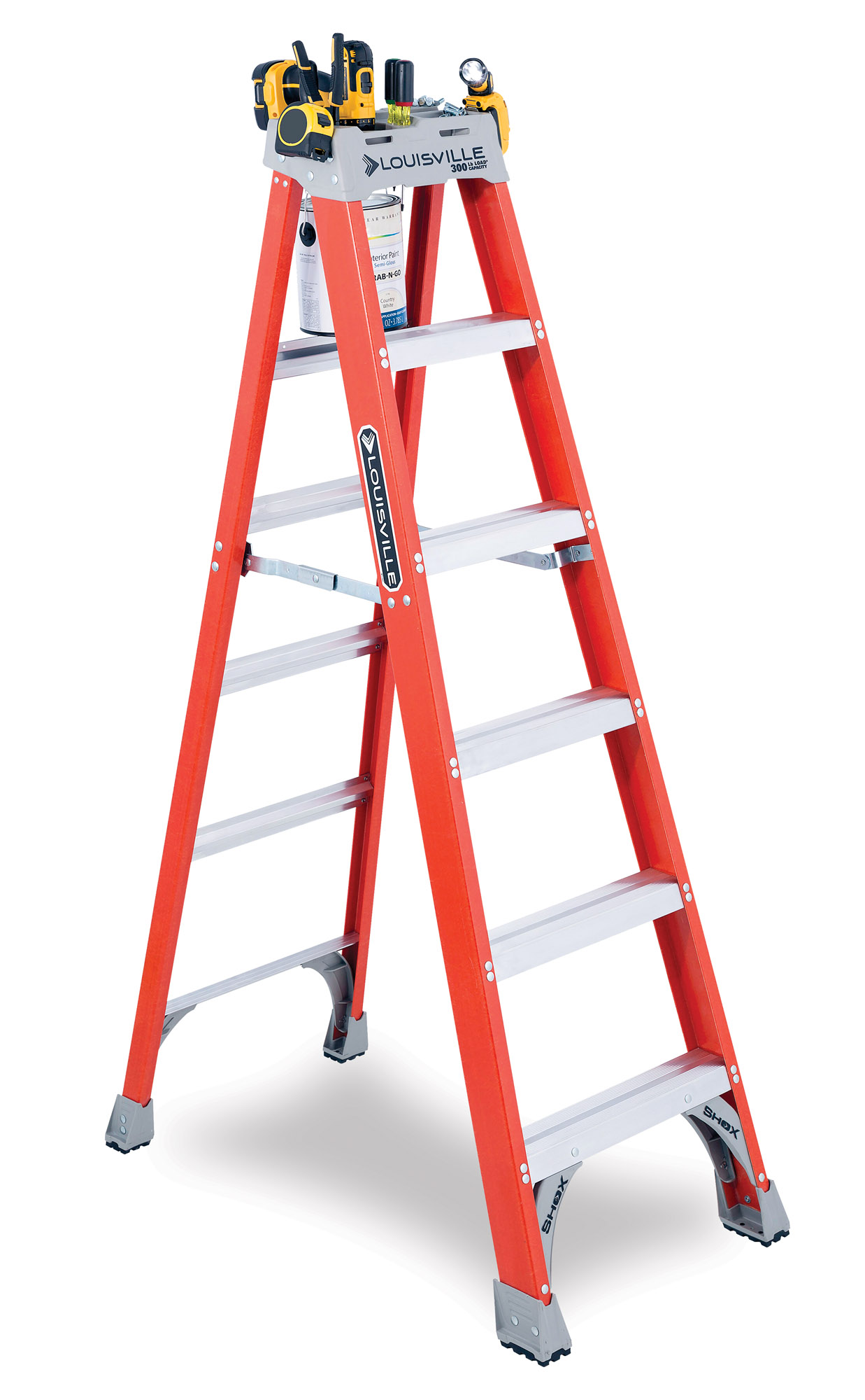 A sturdy 6' step ladder enables you to safely reach and work on surfaces up to ceiling height in most houses, even old ones. The FS1506 fiberglass ladder includes a molded top with slots for tools and also holds a paint tray. Louisville Ladder, (800) 666-2811, louisvilleladder.com