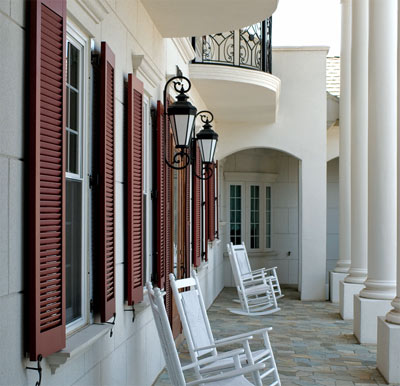 Louvered shutters from Atlantic Premium Shutter are angled so they will shed water when closed.