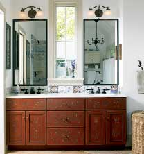 Lovely work in the master bathroom includes the Hindeloopen-style painted vanity and handmade tile inspired by Delft designs of the 1600s. Vanity