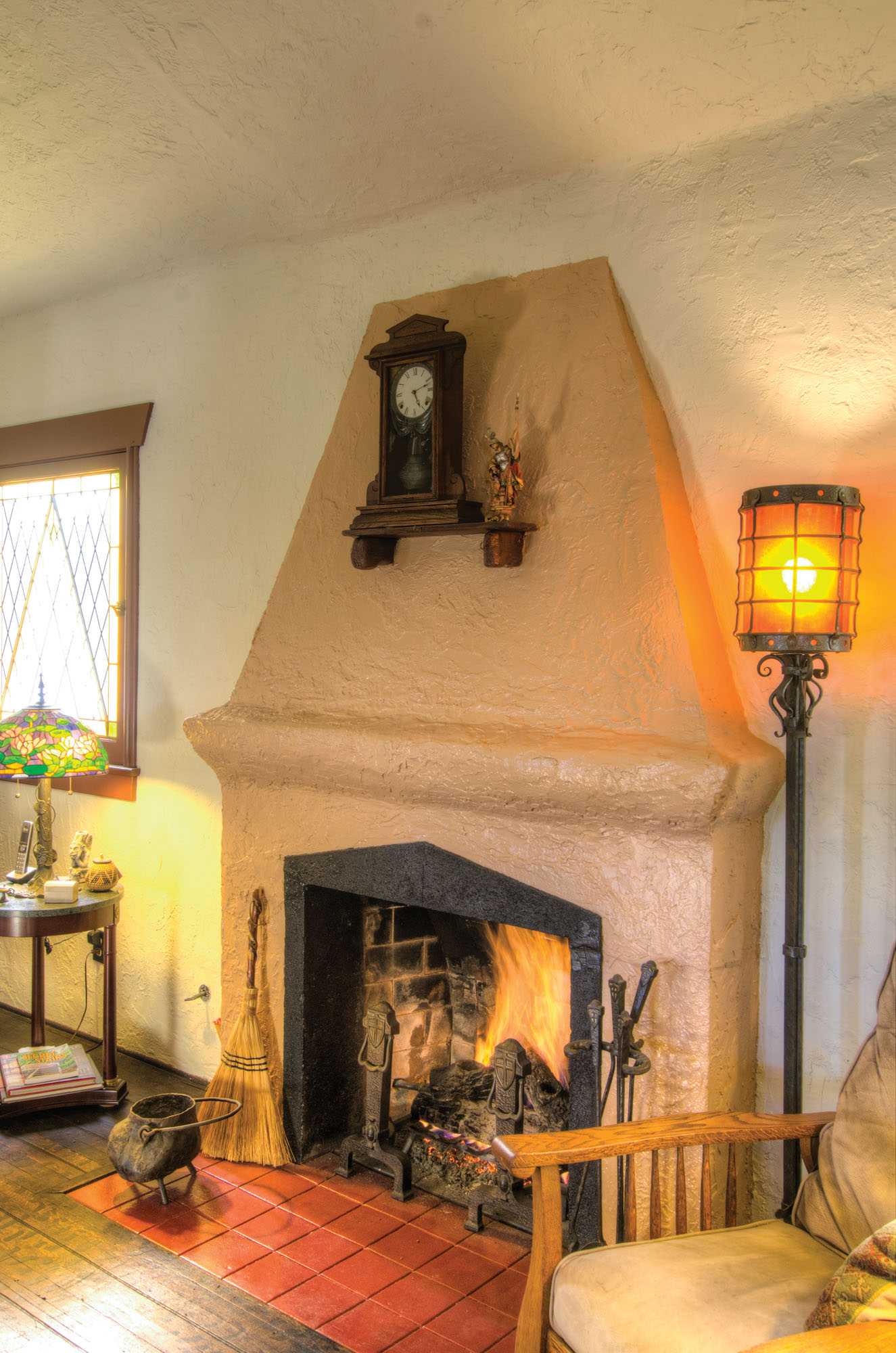 fireplace in storybook home