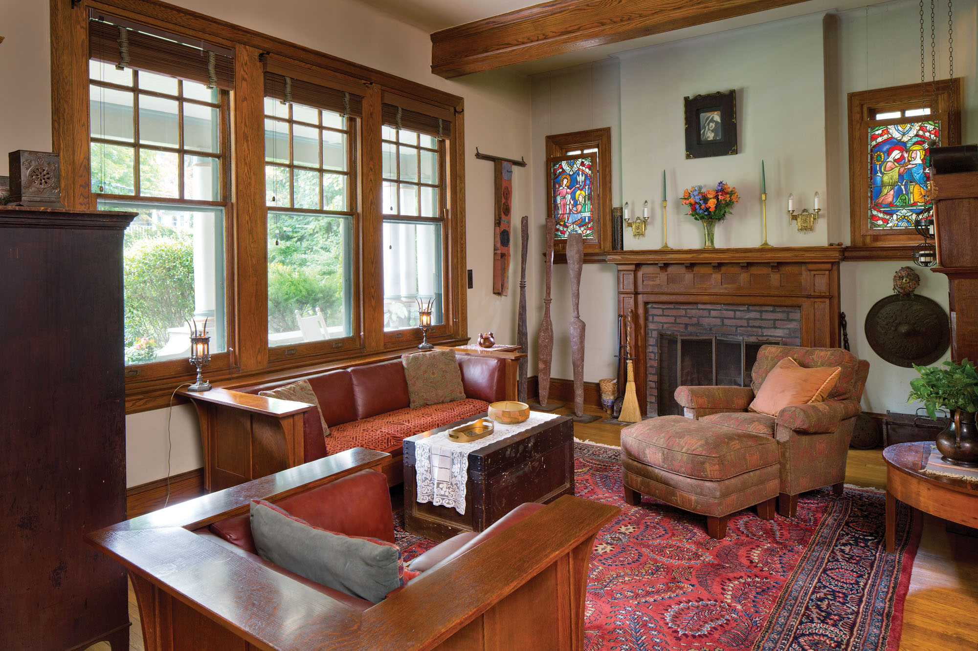 Stickley antiques, American Foursquare living room