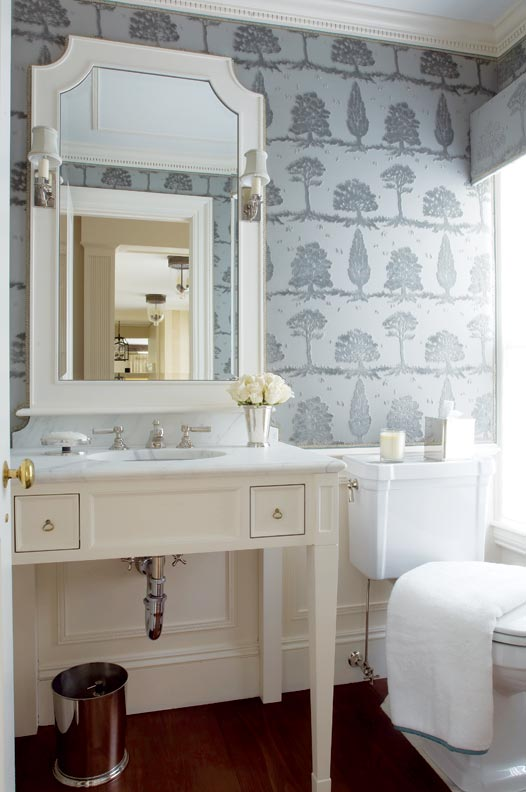 "Richly textured wallpaper (Brunschwig & Fils ""Arboretum"" figured velvet) adds interest to a neutral, classic bath by Austin Patterson Disston Architects."