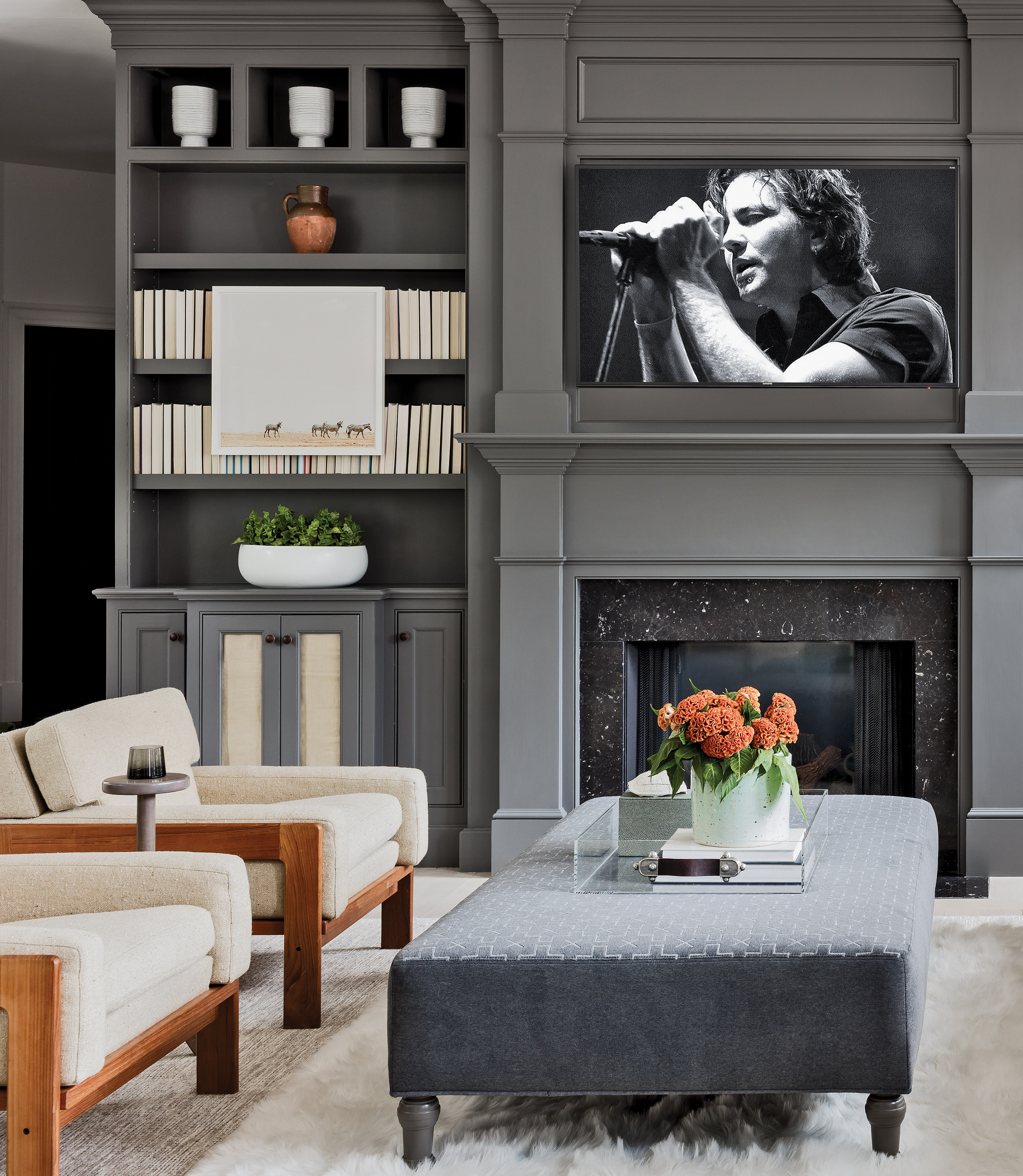 rich gray paint, Greek Revival living room