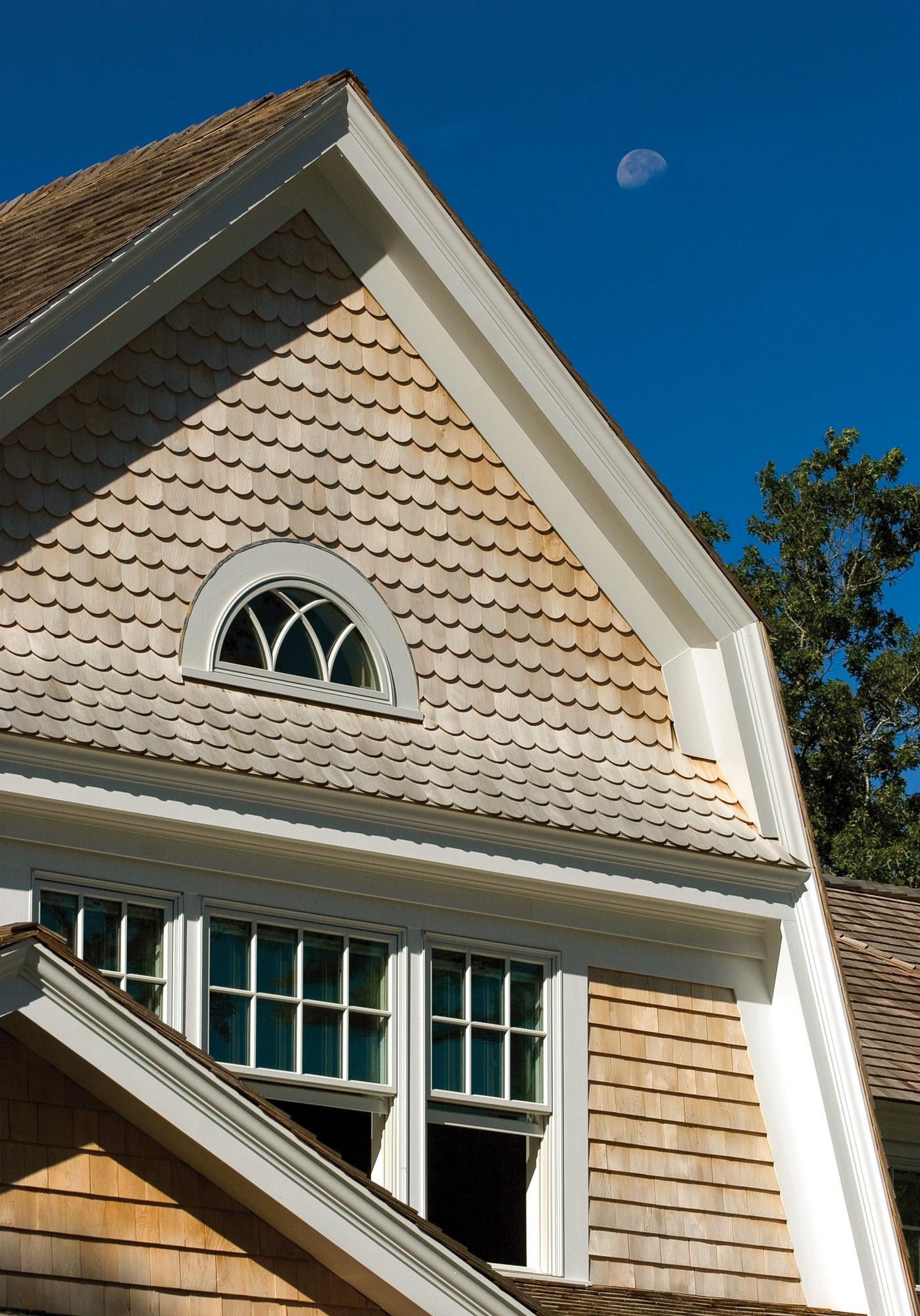 Square and fancy-butt white-cedar shingles