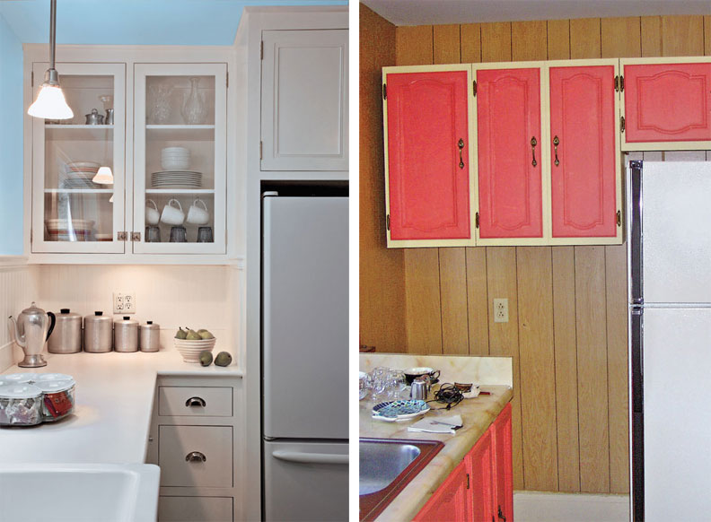 A countertop return and built-ins make good use of what was once an odd waste of space.