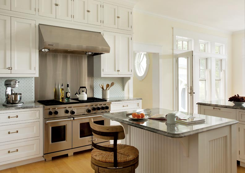 Traditionally, Victorian cabinets would be built right to the ceiling, a design Rapone incorporated in this new kitchen.