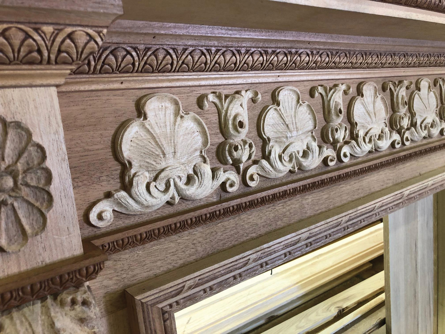 A mantel with hand-applied decoration represents hours of work.