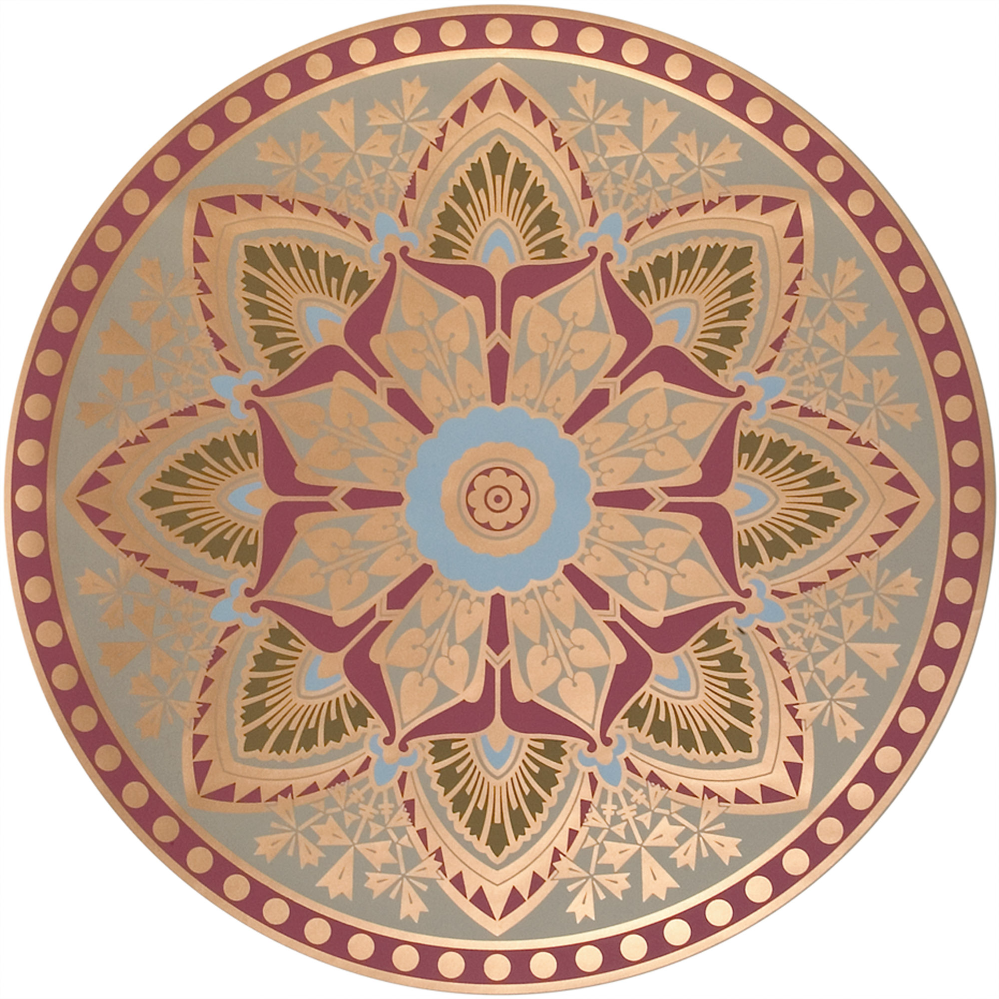 A ceiling rosette by English designer Christopher Dresser, reproduced by Mason & Wolf Wallpapers, has Aesthetic colors with metallic accents.