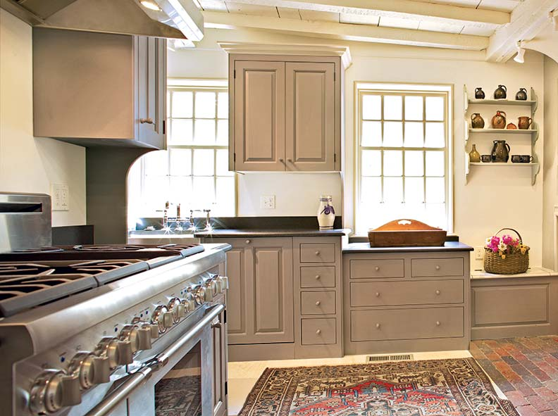 The Kennebec Company kitchen was fitted into an existing addition.