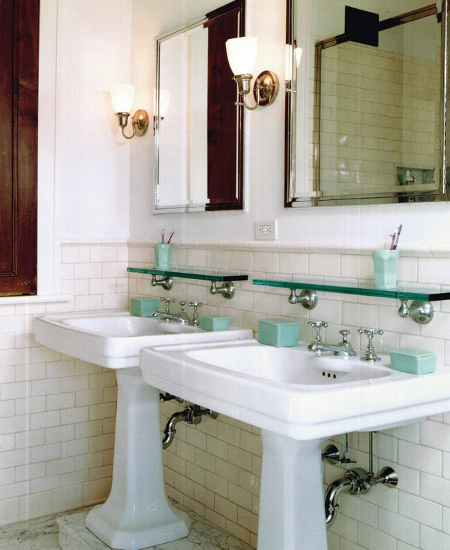subway tiles topped with round cap molding forge a crisp looking bath: subway tiles tile site largest selection