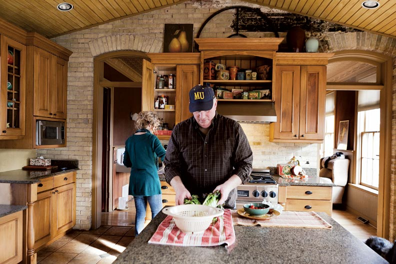 To get more cooking space, Steve and Angela connected the old carriage barn to the main house and converted it into a kitchen.