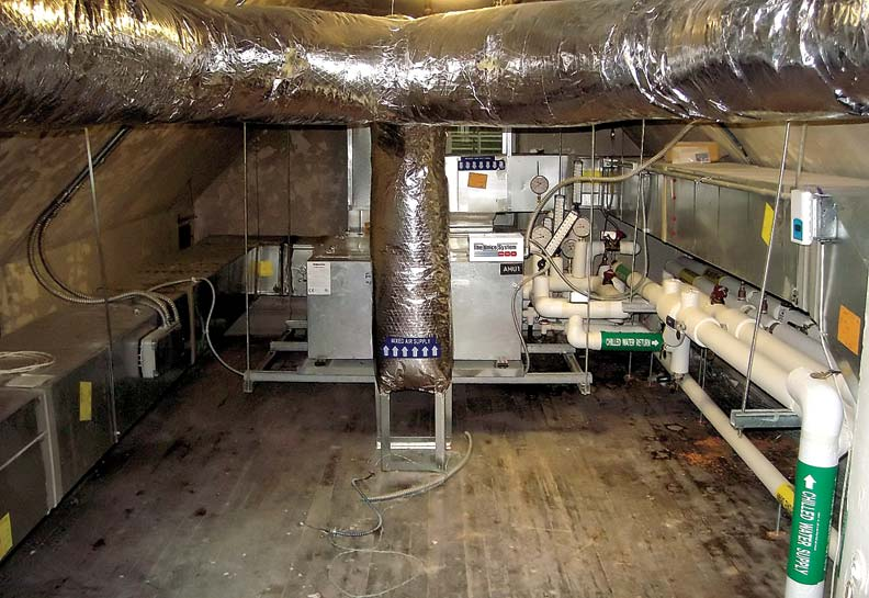 The system's air handler and trunk lines are easily installed in extra attic space.