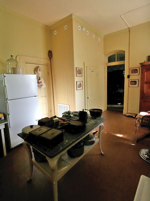 In the kitchen of the Flower Hill Museum, ducts were snaked through a pantry closet to avoid disturbing the original floors.