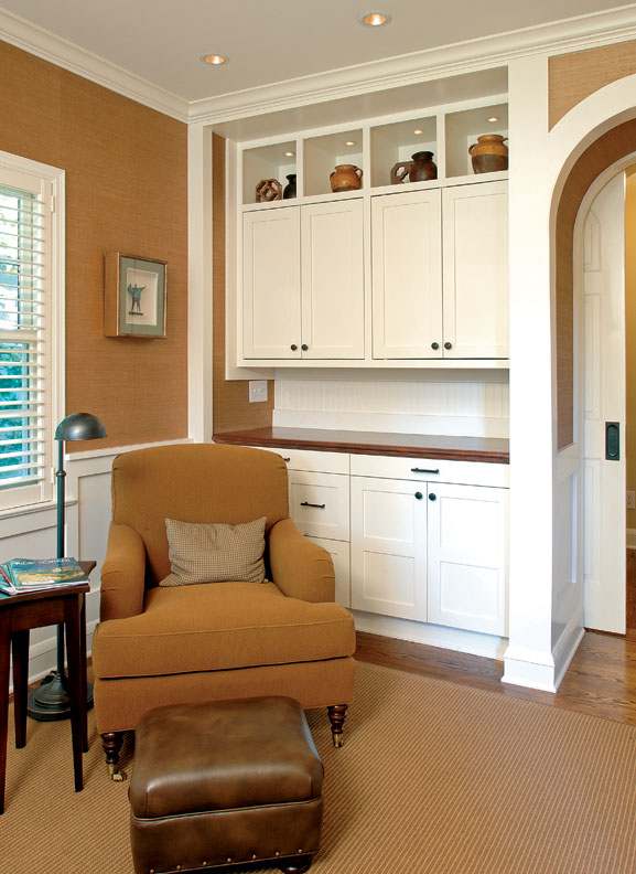 A new built-in cabinet brought the study in line with the home's vintage architecture.