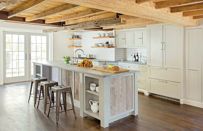 weathered barn board was introduced onto the island - Modern Farmhouse Kitchen
