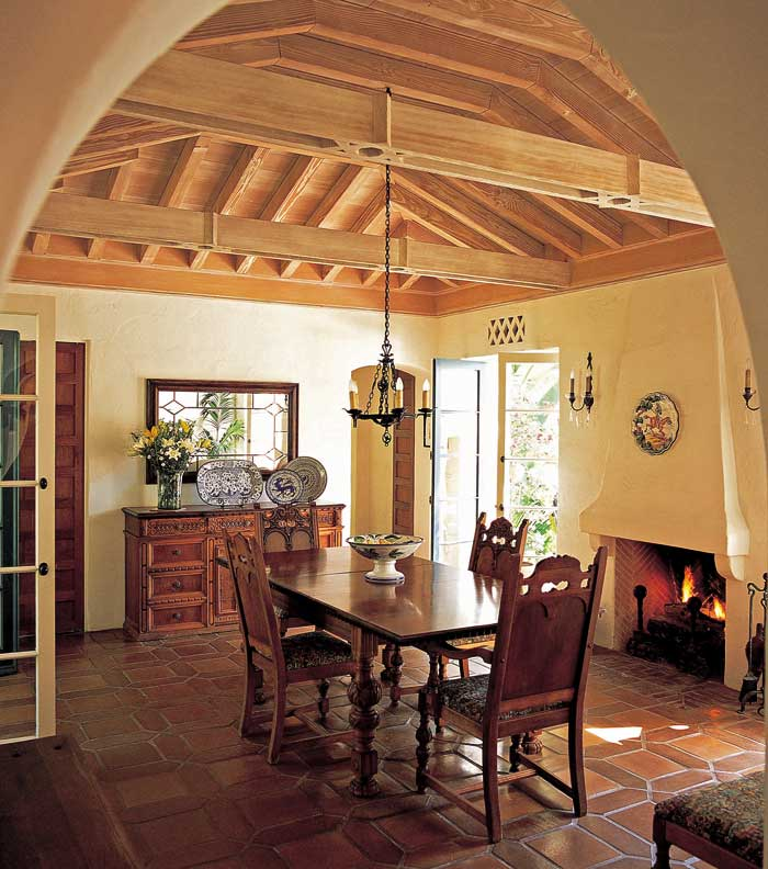 The dining room ceiling is made from lime-washed Douglas fir.