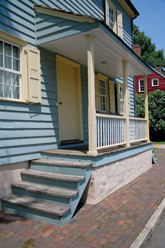 Many houses have small and practical entrance porches.