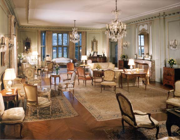 More typical of the era is the main drawing room upstairs, with its European sensibility.