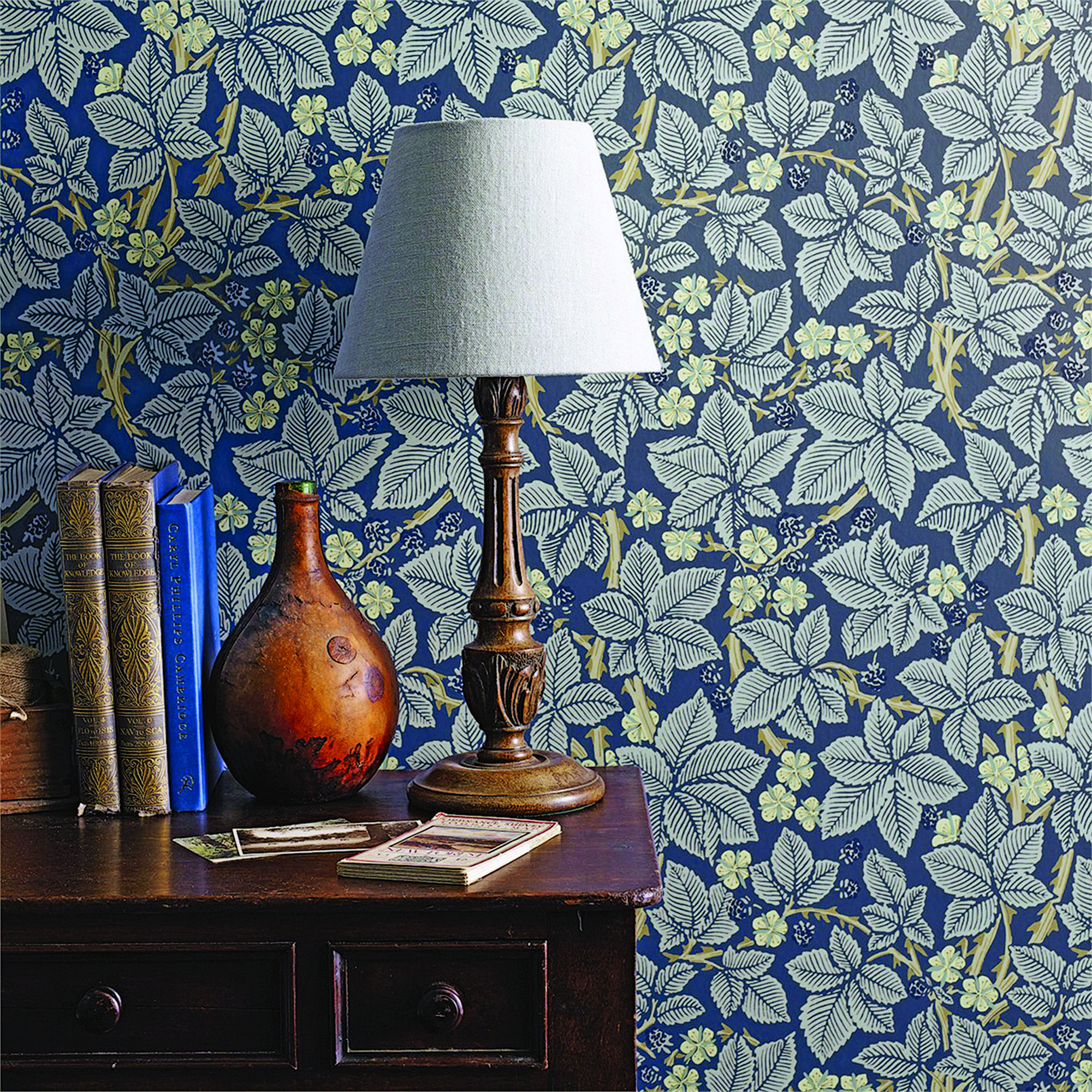 Authentic reproductions of 'Acanthus', 'Bramble', and 'Chrysanthemum' come from today's Morris & Co.