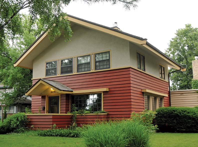 The Wiethoff House, by William Purcell & George Elmslie, is a Prairie house cut from a different mold.