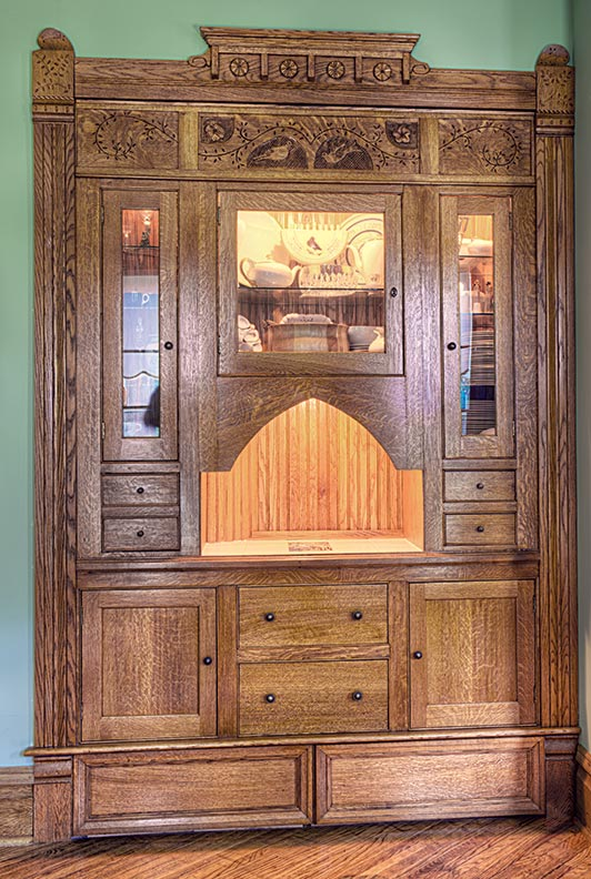 Although the cabinet looks complicated, it was quite simple to build. The trick was combining basic casework with custom moldings.