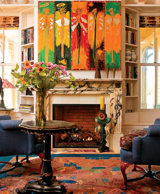 colorful fireplace